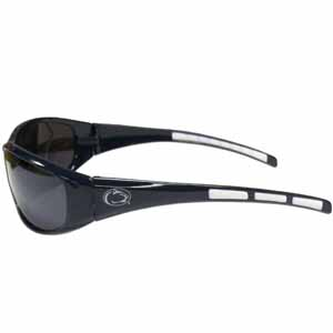 PENN St. Wrap Sunglasses - Our collegiate wrap style sports memorabilia sunglasses have the school logo screen printed the frames. The sunglass arms feature rubber colored accents. UV 400 protection. Thank you for shopping with CrazedOutSports.com
