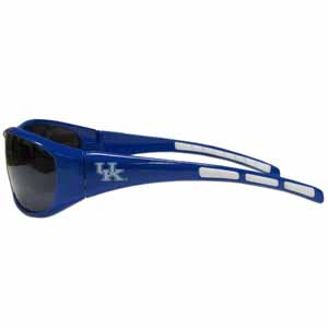 Kentucky Wrap Sunglasses - Our collegiate wrap style sports memorabilia sunglasses have the school logo screen printed the frames. The sunglass arms feature rubber colored accents. UV 400 protection. Thank you for shopping with CrazedOutSports.com
