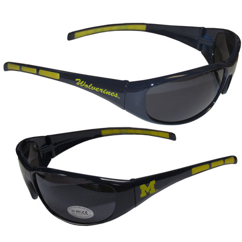 Michigan Wolverines Wrap Sunglasses - Michigan Wolverines collegiate wrap style sports memorabilia sunglasses have the school logo screen printed the frames. The Michigan Wolverines Wrap Sunglasses arms feature rubber colored accents. UV 400 protection. Thank you for shopping with CrazedOutSports.com