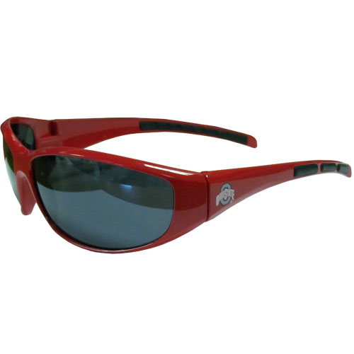 Ohio St. Wrap Sunglasses - Our collegiate wrap style sports memorabilia sunglasses have the school logo screen printed the frames. The sunglass arms feature rubber colored accents. UV 400 protection. Thank you for shopping with CrazedOutSports.com