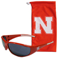 Nebraska Cornhuskers Sunglass and Bag Set - Get our most popular Nebraska Cornhuskers sunglasses with a matching microfiber bag carrying case. The wrap sunglasses are durable and fashionable with the maximum UVA/UBVB protection. The stylish bag is made of microfiber so it can also be used as a cleaning cloth. Thank you for shopping with CrazedOutSports.com