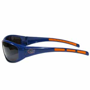 Florida Gators Wrap Sunglasses - Our collegiate Florida Gators wrap style sports memorabilia sunglasses have the Florida Gators school logo screen printed the frames. The sunglass arms feature rubber colored accents. UV 400 protection. Thank you for shopping with CrazedOutSports.com