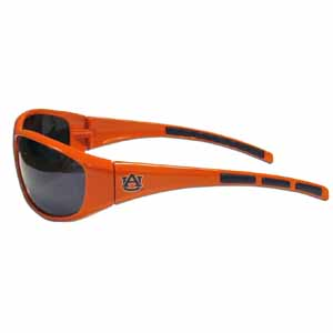 Auburn Tigers Wrap Sunglasses - Our collegiate wrap style sports memorabilia sunglasses have the Auburn Tigers school logo screen printed the frames. The sunglass arms feature rubber colored accents. UV 400 protection. Thank you for shopping with CrazedOutSports.com