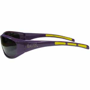 LSU Tigers Wrap Sunglasses - Our collegiate sports memorabilia LSU Tigers Wrap sunglasses have the school logo screen printed the frames. The LSU Tigers Wrap Sunglasses arms feature rubber colored accents. UV 400 protection. Thank you for shopping with CrazedOutSports.com