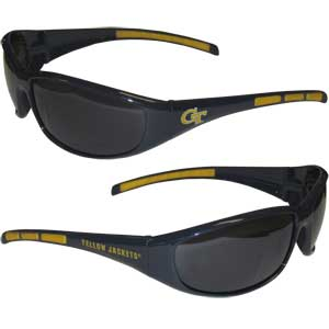 Georgia Tech Yellow Jackets Wrap Sunglasses - Our collegiate Georgia Tech Yellow Jackets wrap style sports memorabilia sunglasses have the Georgia Tech Yellow Jackets school logo screen printed the frames. The sunglass arms feature rubber colored accents. UV 400 protection. Thank you for shopping with CrazedOutSports.com