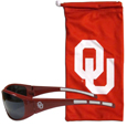 Oklahoma Sooners Sunglass and Bag Set - Get our most popular Oklahoma Sooners sunglasses with a matching microfiber bag carrying case. The wrap sunglasses are durable and fashionable with the maximum UVA/UBVB protection. The stylish bag is made of microfiber so it can also be used as a cleaning cloth. Thank you for shopping with CrazedOutSports.com