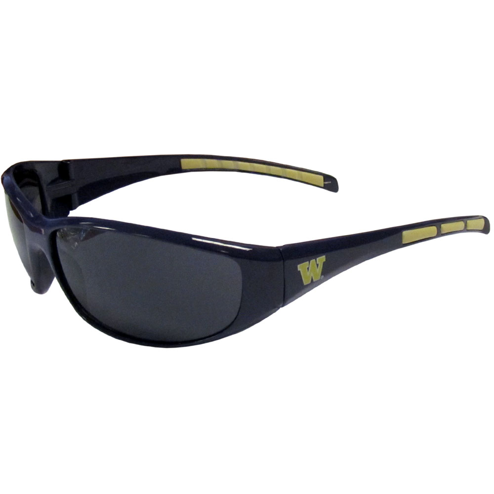 Washington Wrap Sunglasses - Our collegiate wrap style sports memorabilia sunglasses have the school logo screen printed the frames. The sunglass arms feature rubber colored accents. UV 400 protection. Thank you for shopping with CrazedOutSports.com