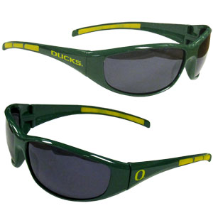 Oregon Wrap Sunglasses - Our collegiate wrap style sports memorabilia sunglasses have the school logo screen printed the frames. The sunglass arms feature rubber colored accents. UV 400 protection. Thank you for shopping with CrazedOutSports.com