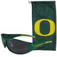 Oregon Ducks Sunglass and Bag Set - Get our most popular Oregon Ducks sunglasses with a matching microfiber bag carrying case. The wrap sunglasses are durable and fashionable with the maximum UVA/UBVB protection. The stylish bag is made of microfiber so it can also be used as a cleaning cloth. Thank you for shopping with CrazedOutSports.com