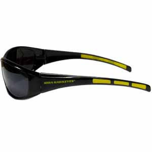 Iowa Hawkeyes Wrap Sunglasses - These Iowa Hawkeyes wrap style sports memorabilia sunglasses have the school logo screen printed the frames. The Iowa Hawkeyes Wrap Sunglasses arms feature rubber colored accents. UV 400 protection. Thank you for shopping with CrazedOutSports.com