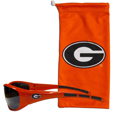 Georgia Bulldogs Sunglass and Bag Set - Get our most popular Georgia Bulldogs sunglasses with a matching Georgia Bulldogs microfiber bag carrying case. The wrap sunglasses are durable and fashionable with the maximum UVA/UBVB protection. The stylish bag is made of microfiber so it can also be used as a cleaning cloth. Thank you for shopping with CrazedOutSports.com