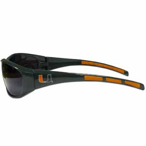 Miami Hurricanes Wrap Sunglasses - Look at these Miami Hurricanes Wrap sunglasses. The Miami Hurricanes Wrap Sunglasses have the school logo screen printed the frames. The sunglass arms feature rubber colored accents. UV 400 protection. Thank you for shopping with CrazedOutSports.com
