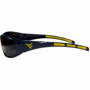 W. Virginia Wrap Sunglasses - Our collegiate wrap style sports memorabilia sunglasses have the school logo screen printed the frames. The sunglass arms feature rubber colored accents. UV 400 protection. Thank you for shopping with CrazedOutSports.com