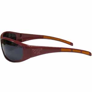 Virginia Tech Wrap Sunglasses - Our collegiate wrap style sports memorabilia sunglasses have the school logo screen printed the frames. The sunglass arms feature rubber colored accents. UV 400 protection. Thank you for shopping with CrazedOutSports.com