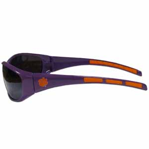Clemson Tigers Wrap Sunglasses - Our collegiate wrap style sports memorabilia sunglasses have the Clemson Tigers school logo screen printed the frames. The sunglass arms feature rubber colored accents. UV 400 protection. Thank you for shopping with CrazedOutSports.com