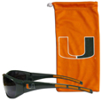 Miami Hurricanes Sunglass and Bag Set - Get our most popular Miami Hurricanes sunglasses with a matching microfiber bag to make a great Miami Hurricanes Sunglass and Bag Set The wrap sunglasses are durable and fashionable with the maximum UVA/UBVB protection. The stylish bag is made of microfiber so it can also be used as a cleaning cloth. Thank you for shopping with CrazedOutSports.com