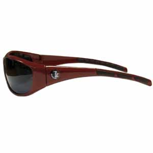 Florida St. Seminoles Wrap Sunglasses - Our collegiate Florida St. Seminoles wrap style sports memorabilia sunglasses have the school Florida St. Seminoles logo screen printed the frames. The sunglass arms feature rubber colored accents. UV 400 protection. Thank you for shopping with CrazedOutSports.com