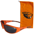 Oregon St. Beavers Sunglass and Bag Set - Get our most popular Oregon St. Beavers sunglasses with a matching microfiber bag carrying case. The wrap sunglasses are durable and fashionable with the maximum UVA/UBVB protection. The stylish bag is made of microfiber so it can also be used as a cleaning cloth. Thank you for shopping with CrazedOutSports.com