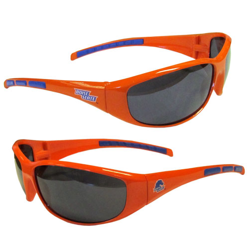 Boise State Broncos Wrap Sunglasses - Our college team sunglasses have the Boise State Broncos logo screen printed on one side of the frames and the team logo on the other side of the frames. The sunglass arms feature rubber team colored accents. Maximum UVA/UVB protection. Thank you for shopping with CrazedOutSports.com
