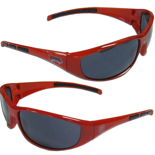N. Carolina St. Wolfpack Wrap Sunglasses - Our collegiate wrap style sports memorabilia sunglasses have the school logo screen printed the frames. The sunglass arms feature rubber colored accents. UV 400 protection. Thank you for shopping with CrazedOutSports.com