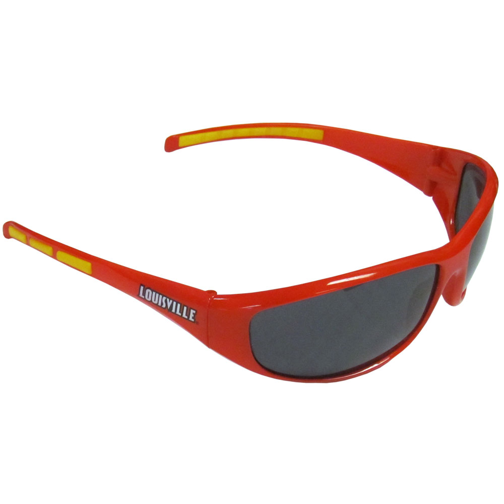 Louisville Wrap Sunglasses - Our collegiate wrap style sports memorabilia sunglasses have the school logo screen printed the frames. The sunglass arms feature rubber colored accents. UV 400 protection. Thank you for shopping with CrazedOutSports.com