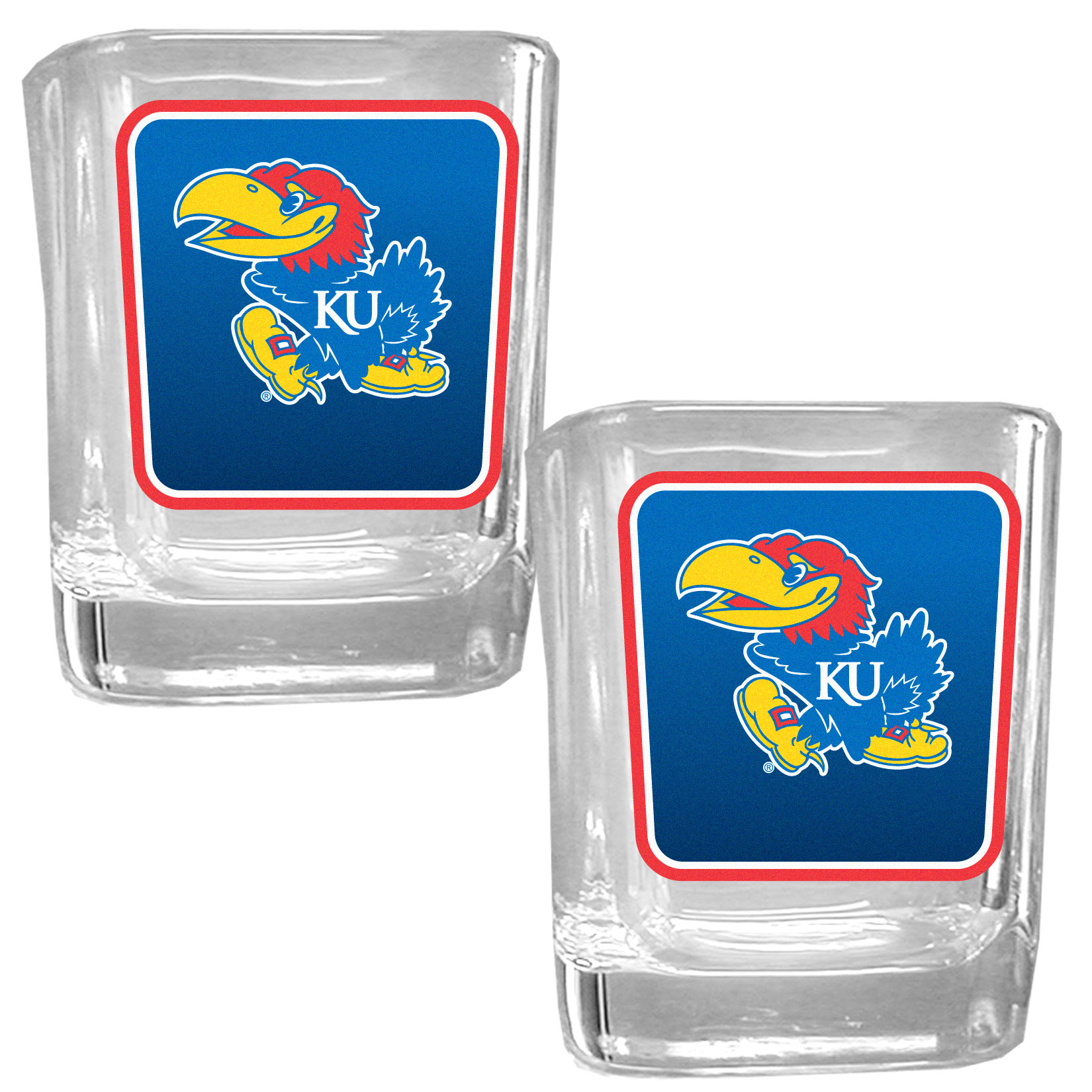 Kansas Jayhawks Square Glass Shot Glass Set - Our glass shot glasses are perfect for collectors or any game day event. The 2 ounce glasses feature bright, vidid digital Kansas Jayhawks graphics. Comes in a set of 2.