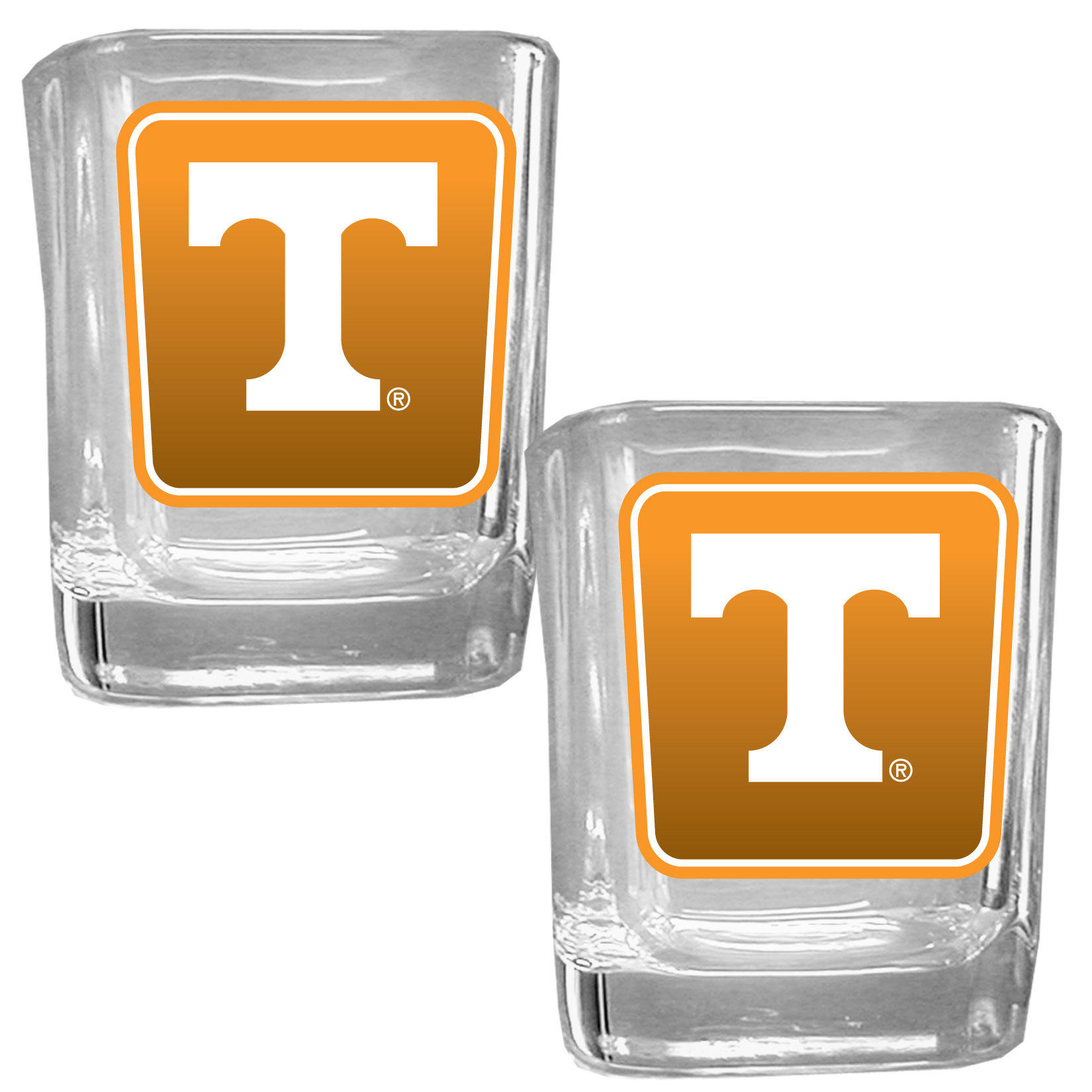 Tennessee Volunteers Square Glass Shot Glass Set - Our glass shot glasses are perfect for collectors or any game day event. The 2 ounce glasses feature bright, vidid digital Tennessee Volunteers graphics. Comes in a set of 2.