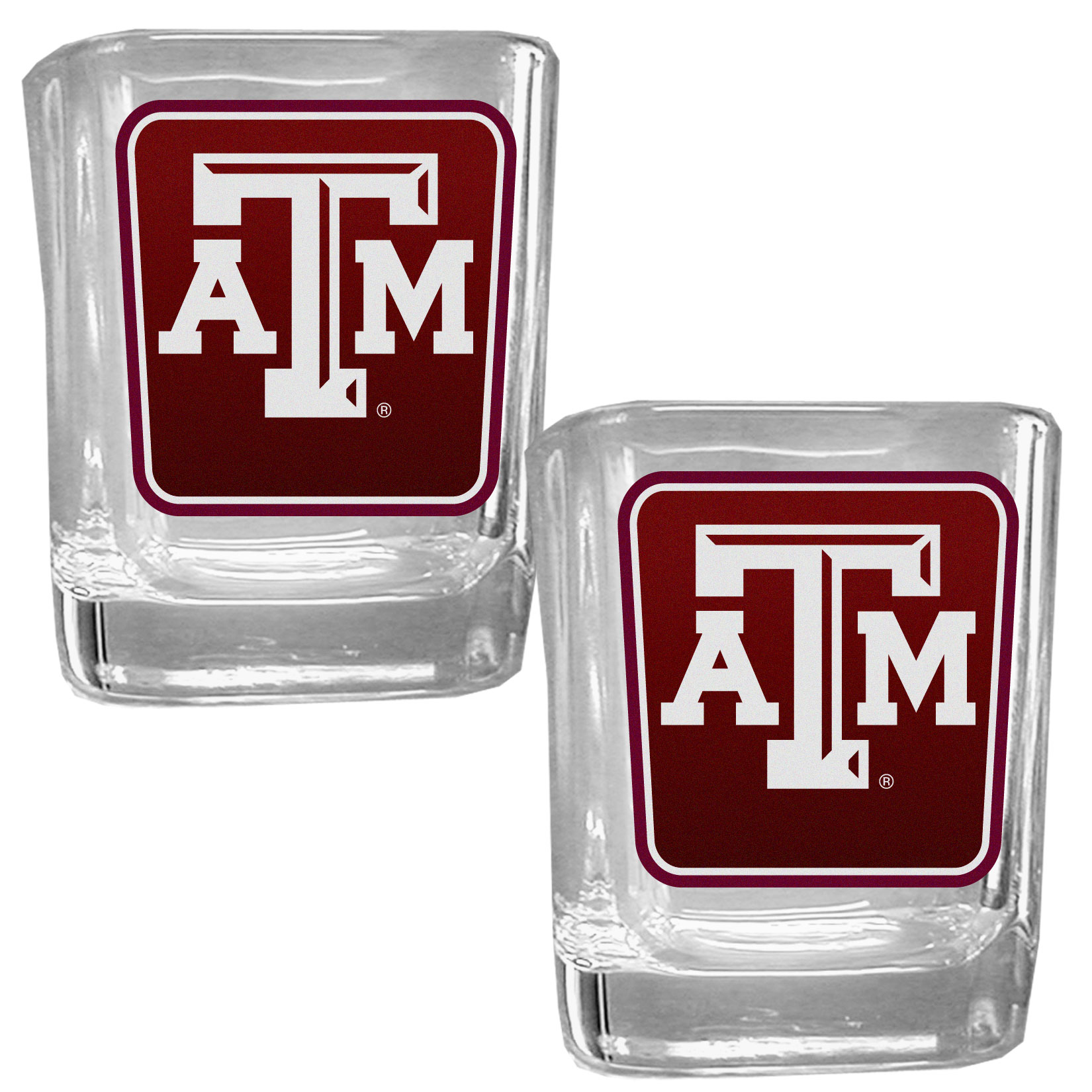 Texas A and M Aggies Square Glass Shot Glass Set - Our glass shot glasses are perfect for collectors or any game day event. The 2 ounce glasses feature bright, vidid digital Texas A & M Aggies graphics. Comes in a set of 2.