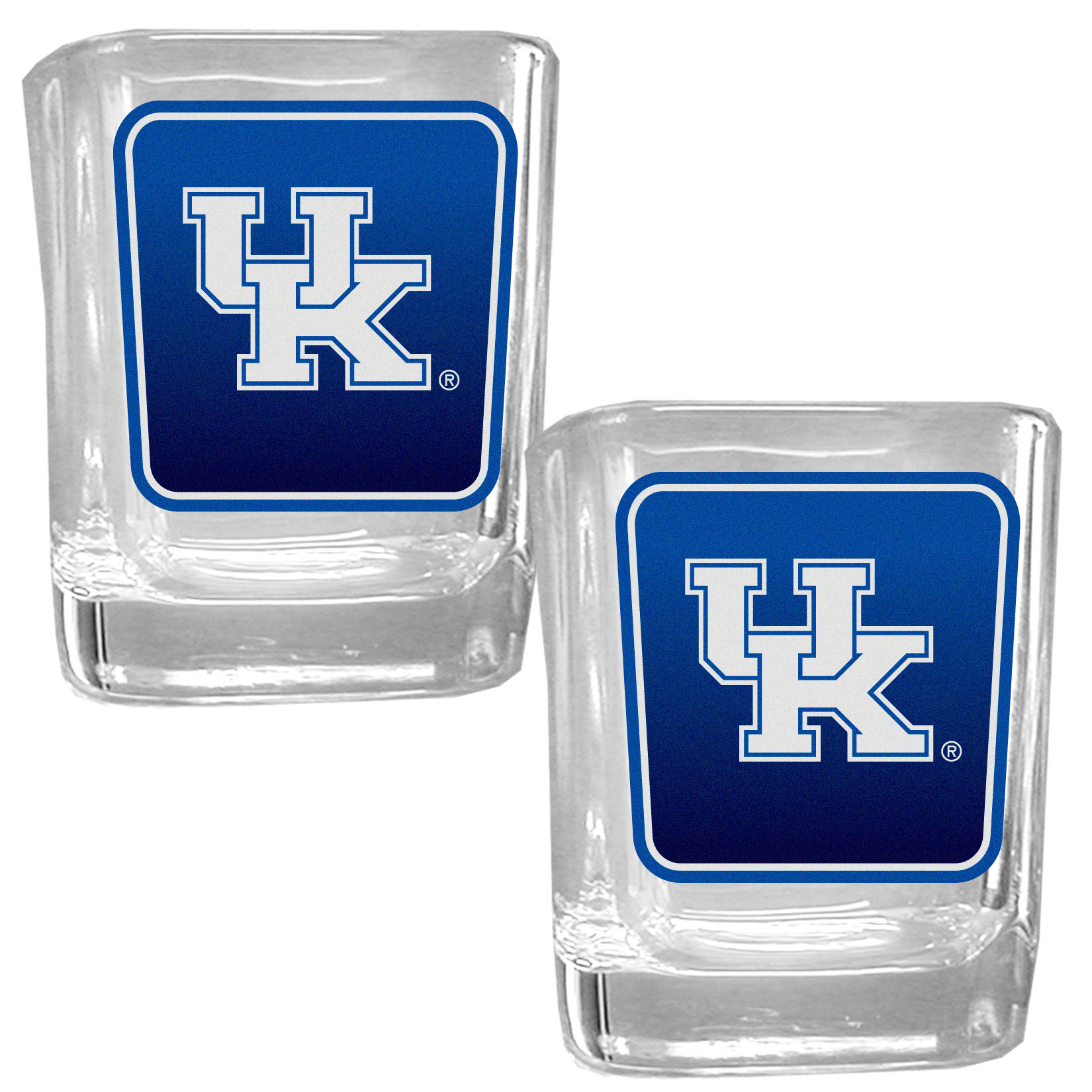 Kentucky Wildcats Square Glass Shot Glass Set - Our glass shot glasses are perfect for collectors or any game day event. The 2 ounce glasses feature bright, vidid digital Kentucky Wildcats graphics. Comes in a set of 2.