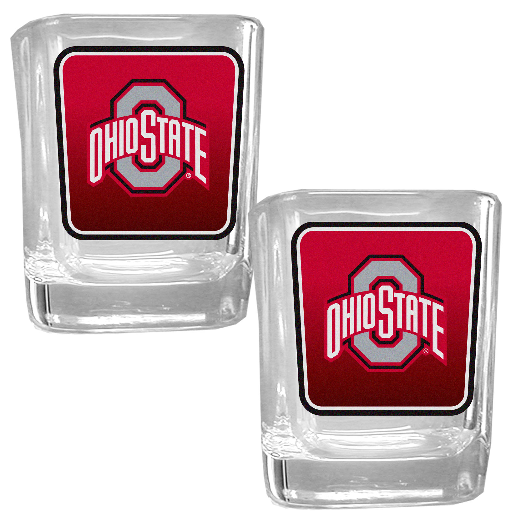 Ohio St. Buckeyes Square Glass Shot Glass Set - Our glass shot glasses are perfect for collectors or any game day event. The 2 ounce glasses feature bright, vidid digital Ohio St. Buckeyes graphics. Comes in a set of 2.