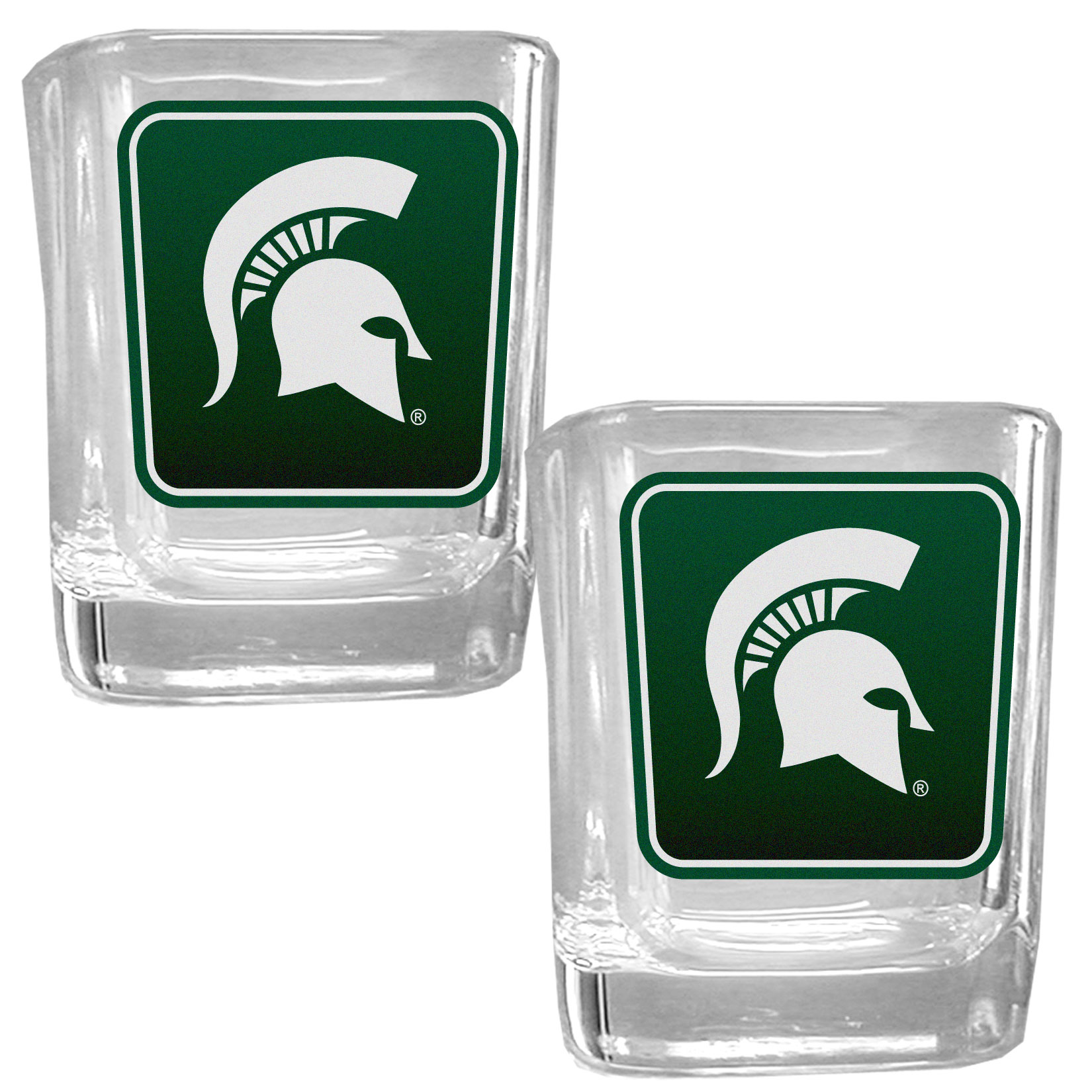 Michigan St. Spartans Square Glass Shot Glass Set - Our glass shot glasses are perfect for collectors or any game day event. The 2 ounce glasses feature bright, vidid digital Michigan St. Spartans graphics. Comes in a set of 2.