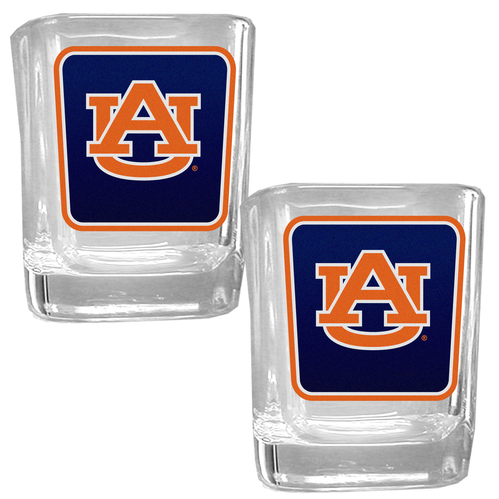Auburn Tigers Square Glass Shot Glass Set - Our glass shot glasses are perfect for collectors or any game day event. The 2 ounce glasses feature bright, vidid digital Auburn Tigers graphics. Comes in a set of 2.
