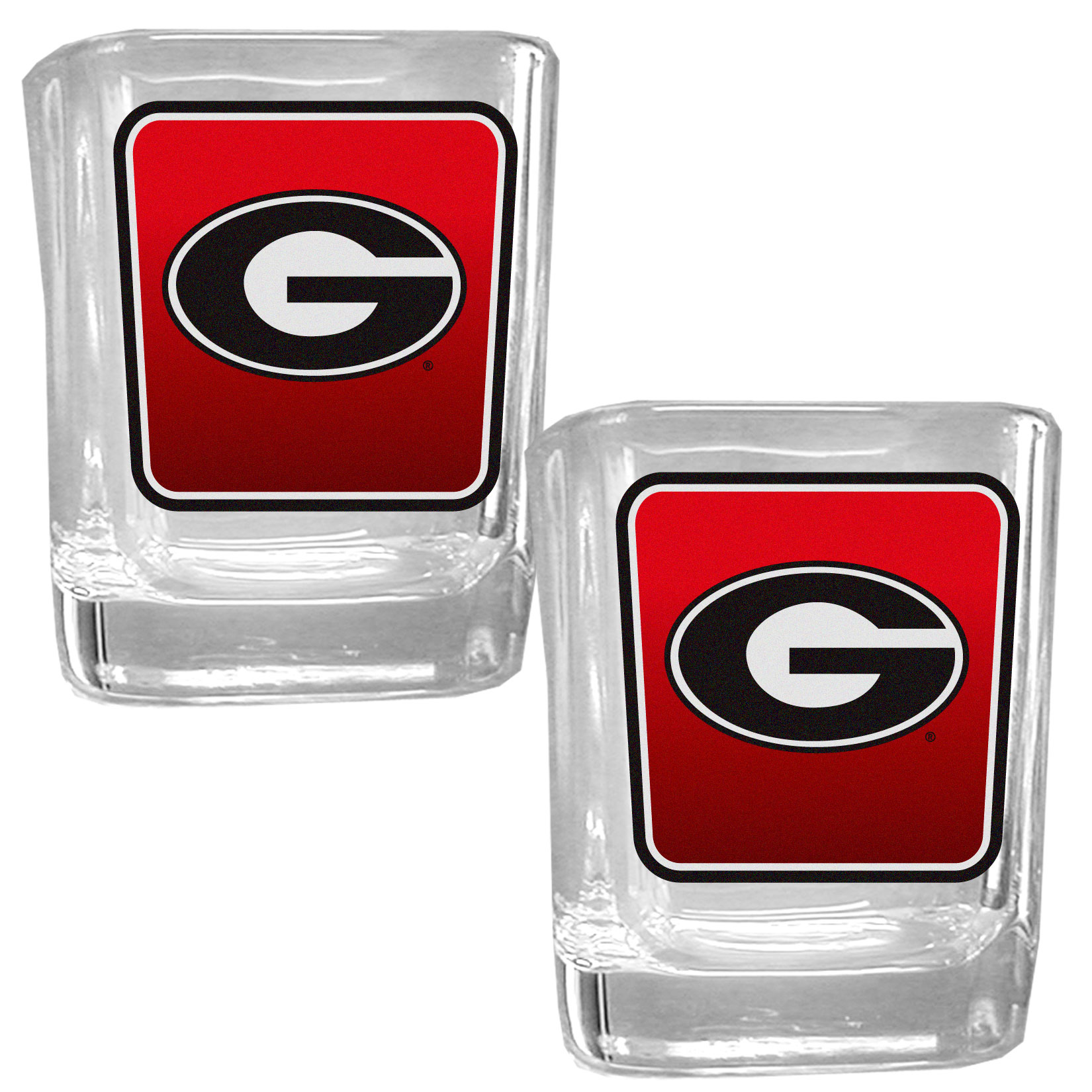 Georgia Bulldogs Square Glass Shot Glass Set - Our glass shot glasses are perfect for collectors or any game day event. The 2 ounce glasses feature bright, vidid digital Georgia Bulldogs graphics. Comes in a set of 2.