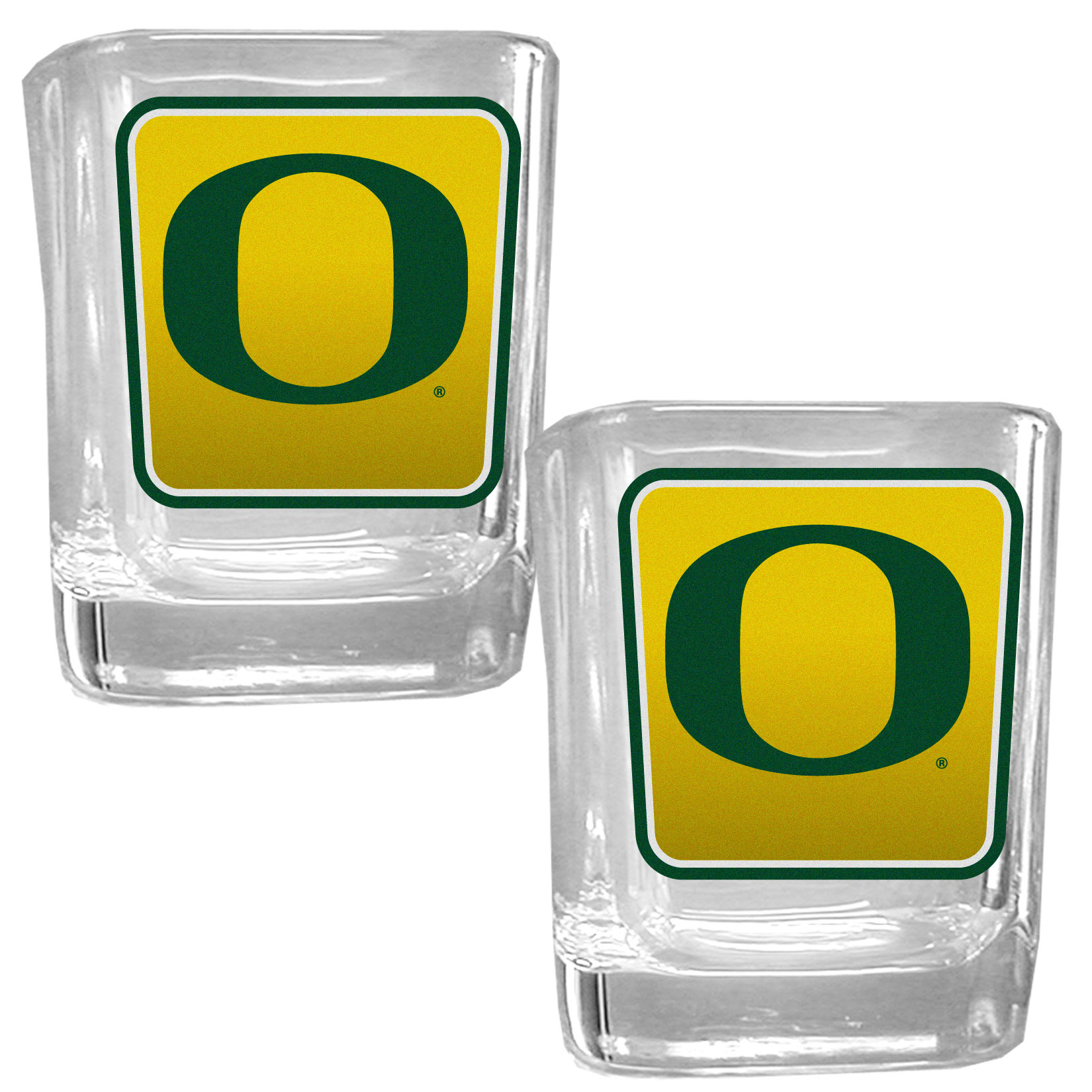 Oregon Ducks Square Glass Shot Glass Set - Our glass shot glasses are perfect for collectors or any game day event. The 2 ounce glasses feature bright, vidid digital Oregon Ducks graphics. Comes in a set of 2.