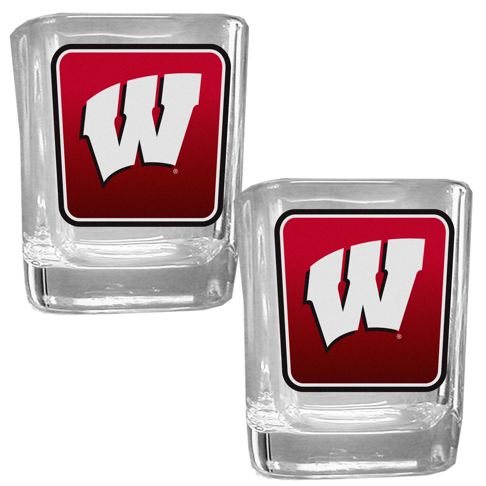 Wisconsin Badgers Square Glass Shot Glass Set - Our glass shot glasses are perfect for collectors or any game day event. The 2 ounce glasses feature bright, vidid digital Wisconsin Badgers graphics. Comes in a set of 2.