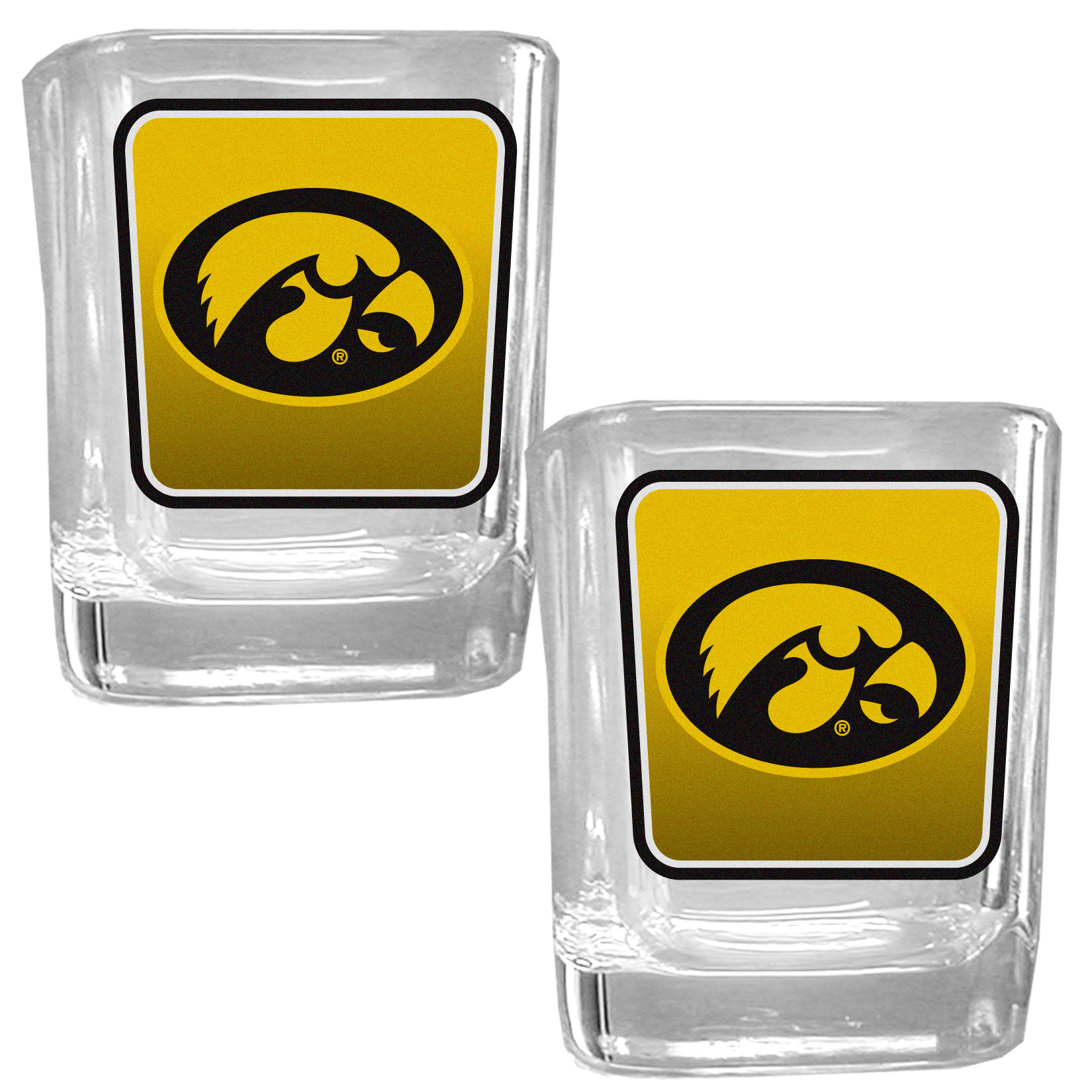 Iowa Hawkeyes Square Glass Shot Glass Set - Our glass shot glasses are perfect for collectors or any game day event. The 2 ounce glasses feature bright, vidid digital Iowa Hawkeyes graphics. Comes in a set of 2.