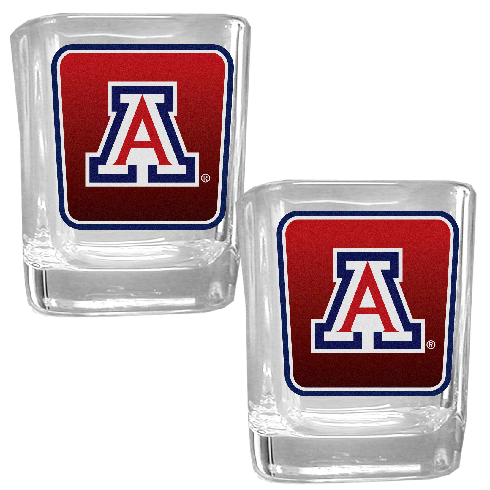 Arizona Wildcats Square Glass Shot Glass Set - Our glass shot glasses are perfect for collectors or any game day event. The 2 ounce glasses feature bright, vidid digital Arizona Wildcats graphics. Comes in a set of 2.