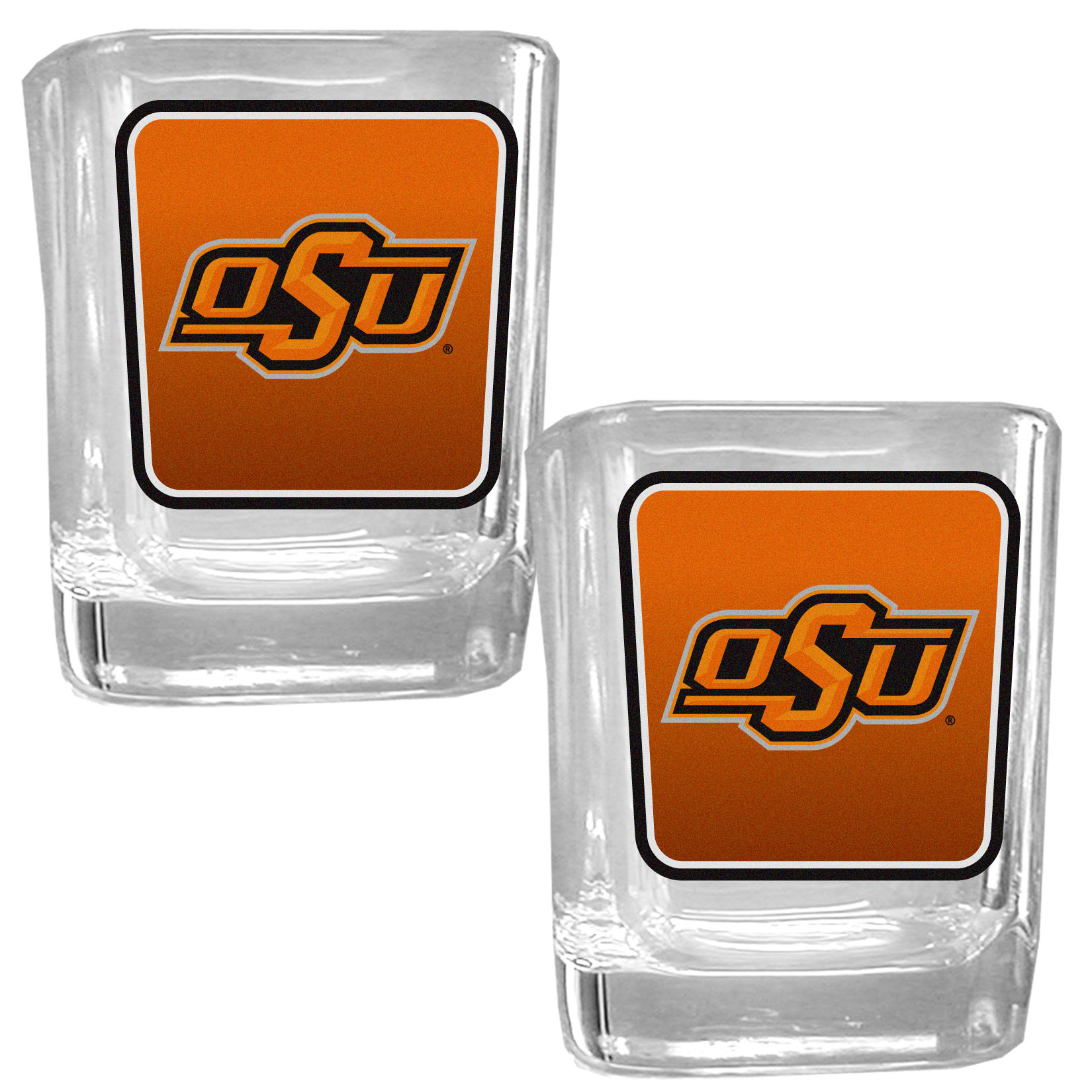 Oklahoma St. Cowboys Square Glass Shot Glass Set - Our glass shot glasses are perfect for collectors or any game day event. The 2 ounce glasses feature bright, vidid digital Oklahoma St. Cowboys graphics. Comes in a set of 2.