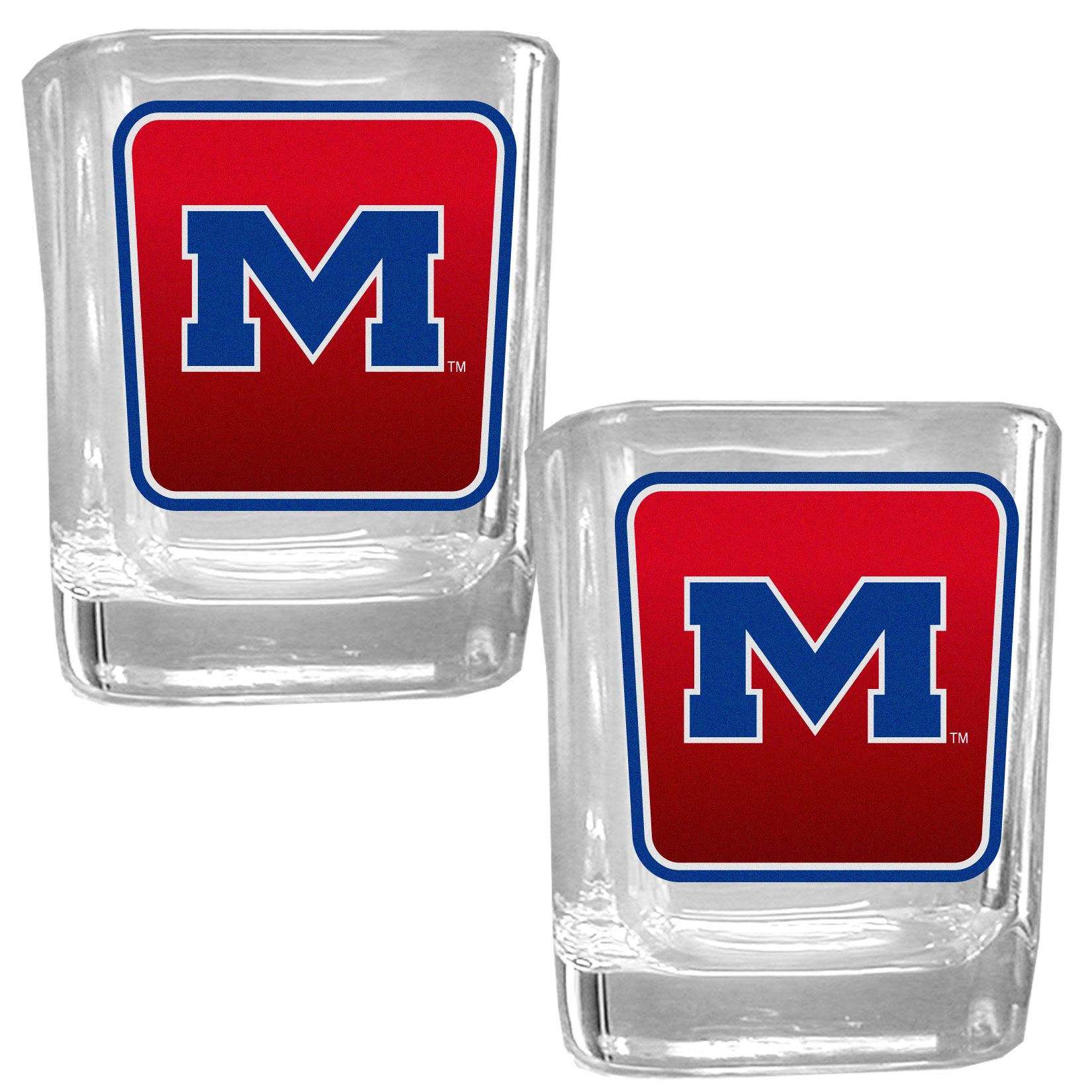 Mississippi Rebels Square Glass Shot Glass Set - Our glass shot glasses are perfect for collectors or any game day event. The 2 ounce glasses feature bright, vidid digital Mississippi Rebels graphics. Comes in a set of 2.
