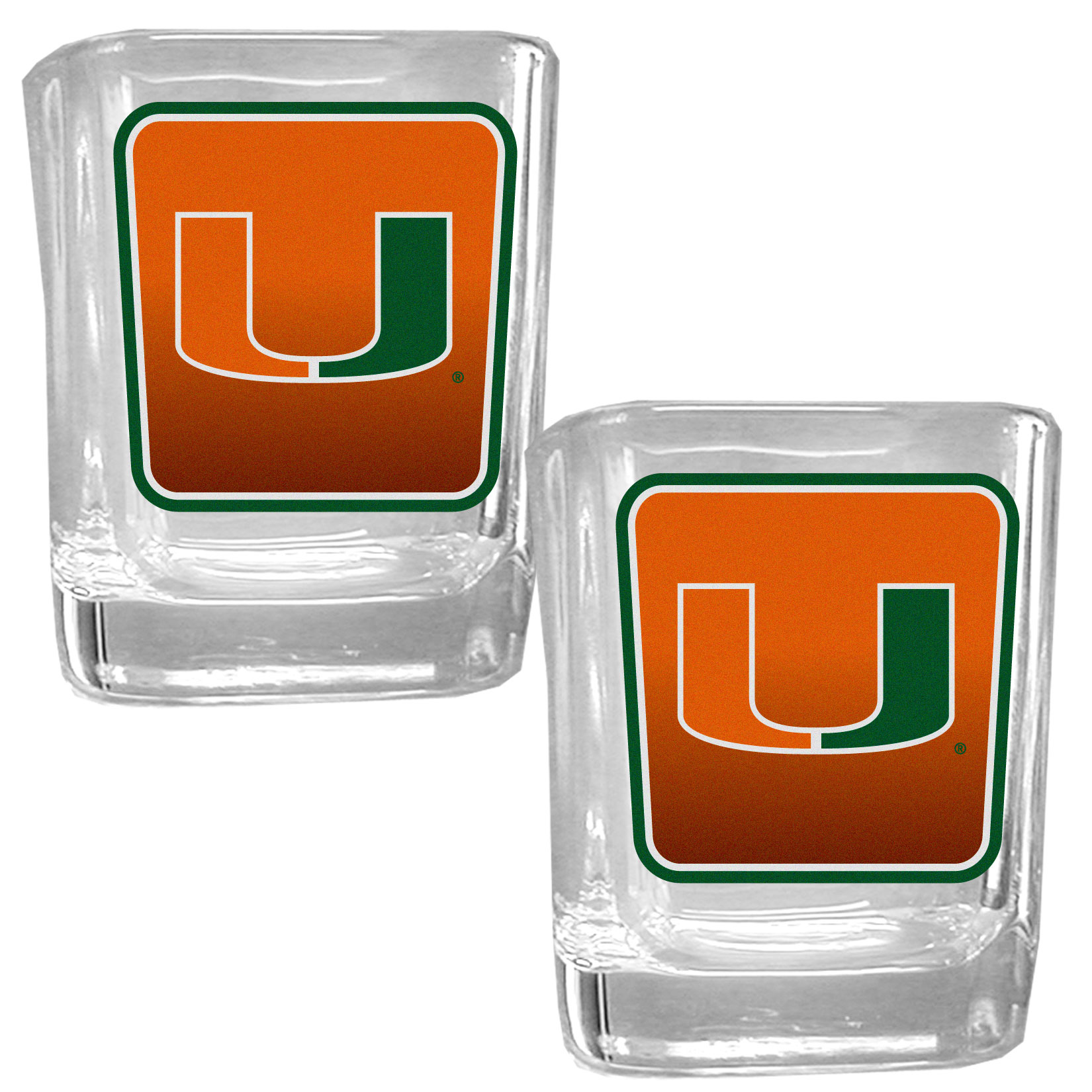 Miami Hurricanes Square Glass Shot Glass Set - Our glass shot glasses are perfect for collectors or any game day event. The 2 ounce glasses feature bright, vidid digital Miami Hurricanes graphics. Comes in a set of 2.