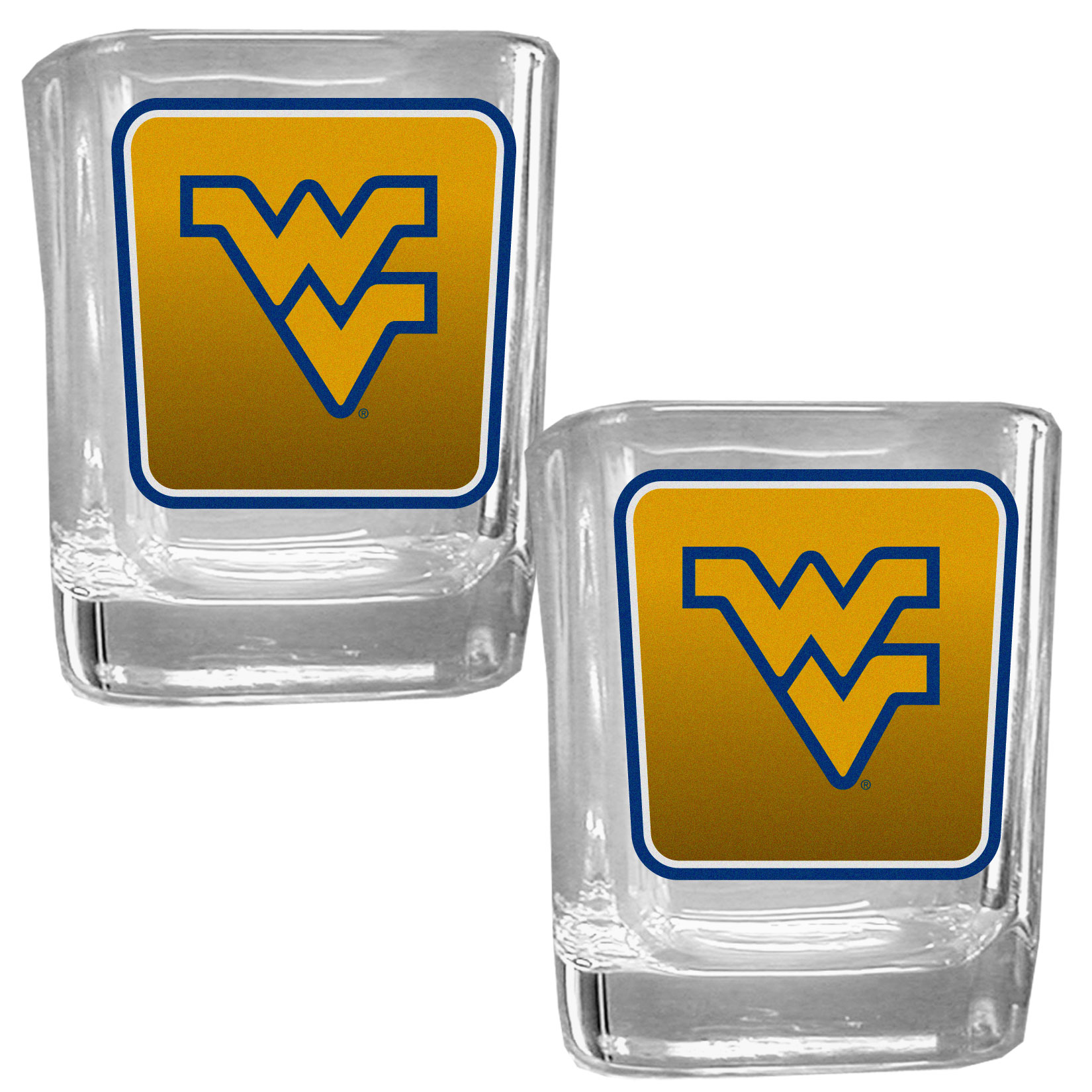 W. Virginia Mountaineers Square Glass Shot Glass Set - Our glass shot glasses are perfect for collectors or any game day event. The 2 ounce glasses feature bright, vidid digital W. Virginia Mountaineers graphics. Comes in a set of 2.