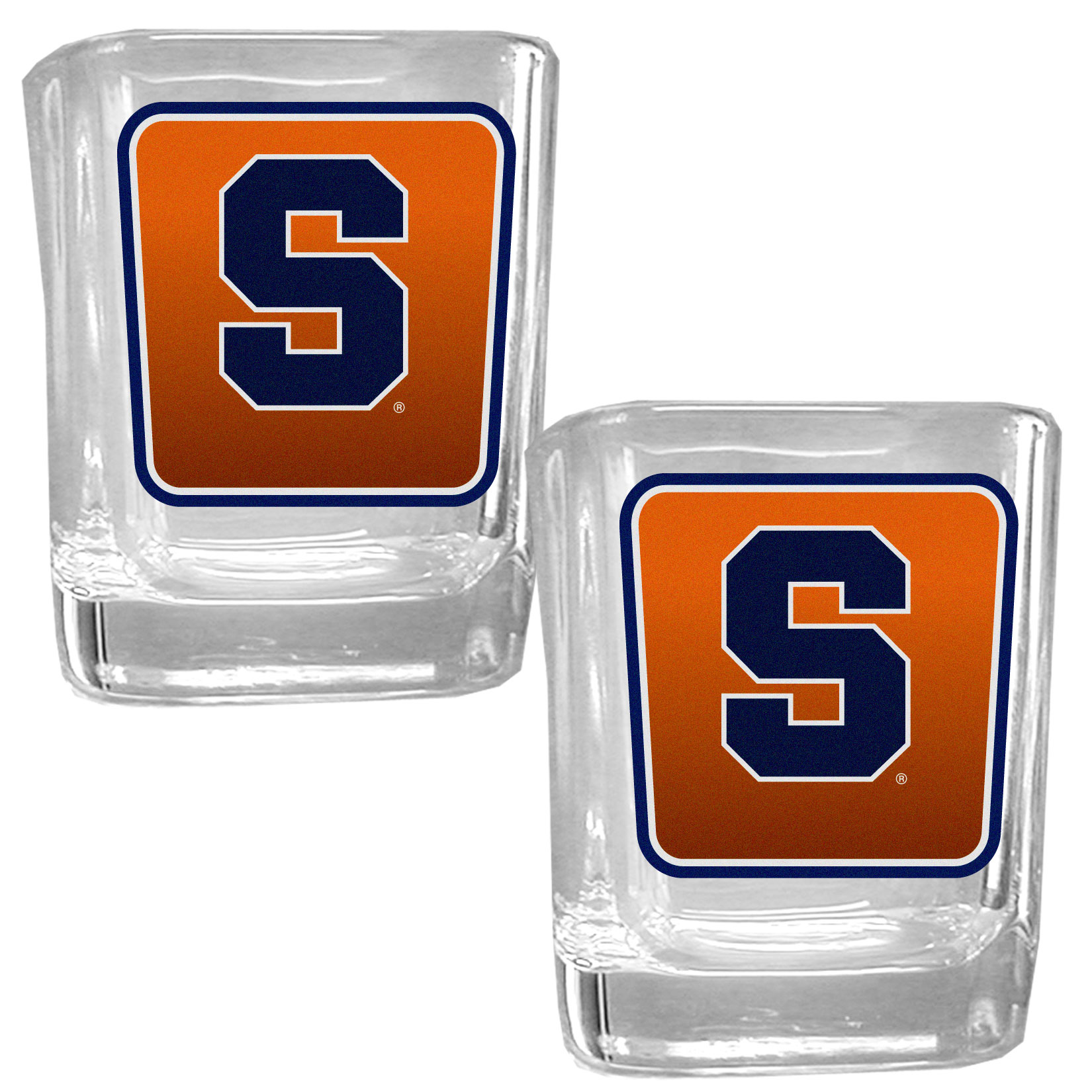 Syracuse Orange Square Glass Shot Glass Set - Our glass shot glasses are perfect for collectors or any game day event. The 2 ounce glasses feature bright, vidid digital Syracuse Orange graphics. Comes in a set of 2.