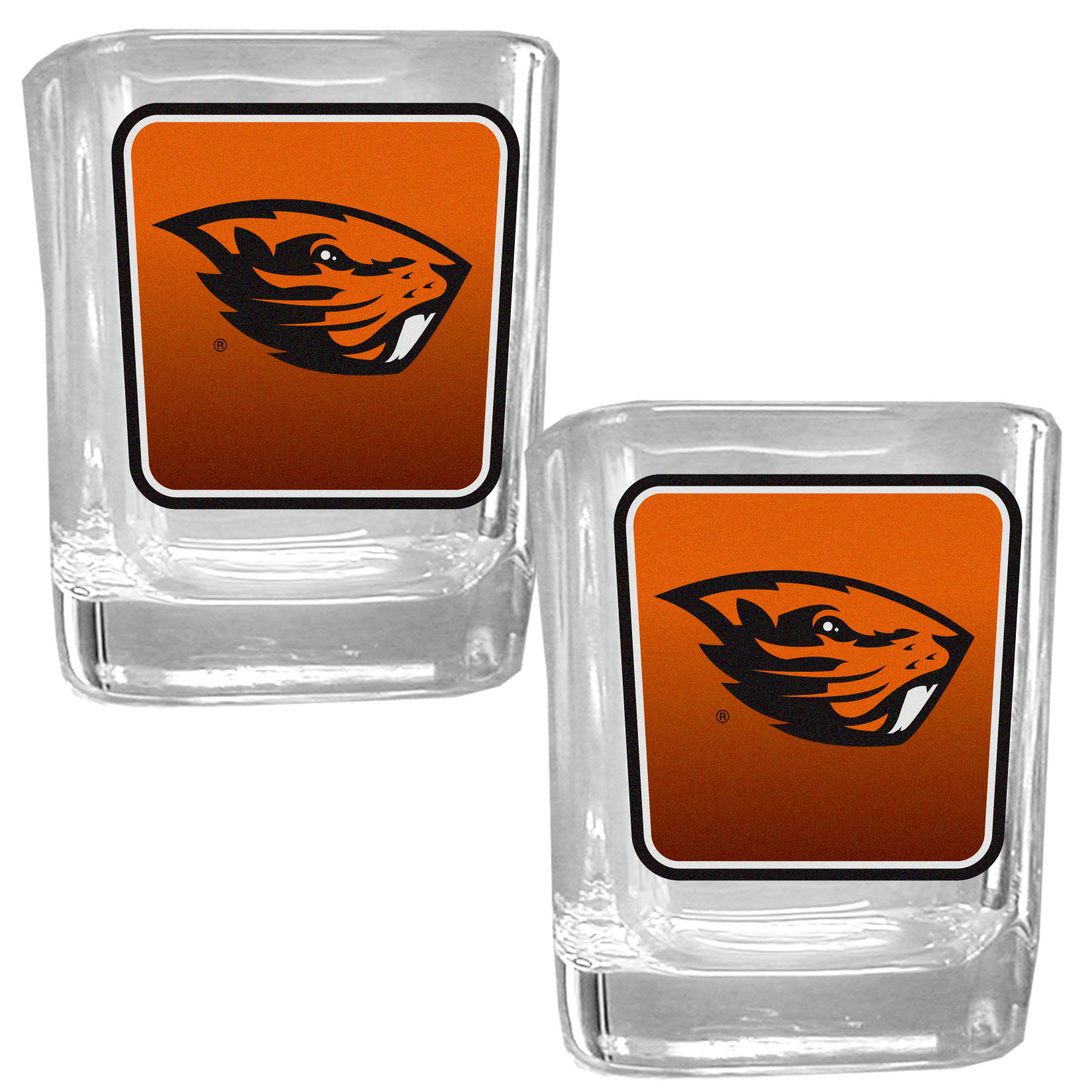 Oregon St. Beavers Square Glass Shot Glass Set - Our glass shot glasses are perfect for collectors or any game day event. The 2 ounce glasses feature bright, vidid digital Oregon St. Beavers graphics. Comes in a set of 2.