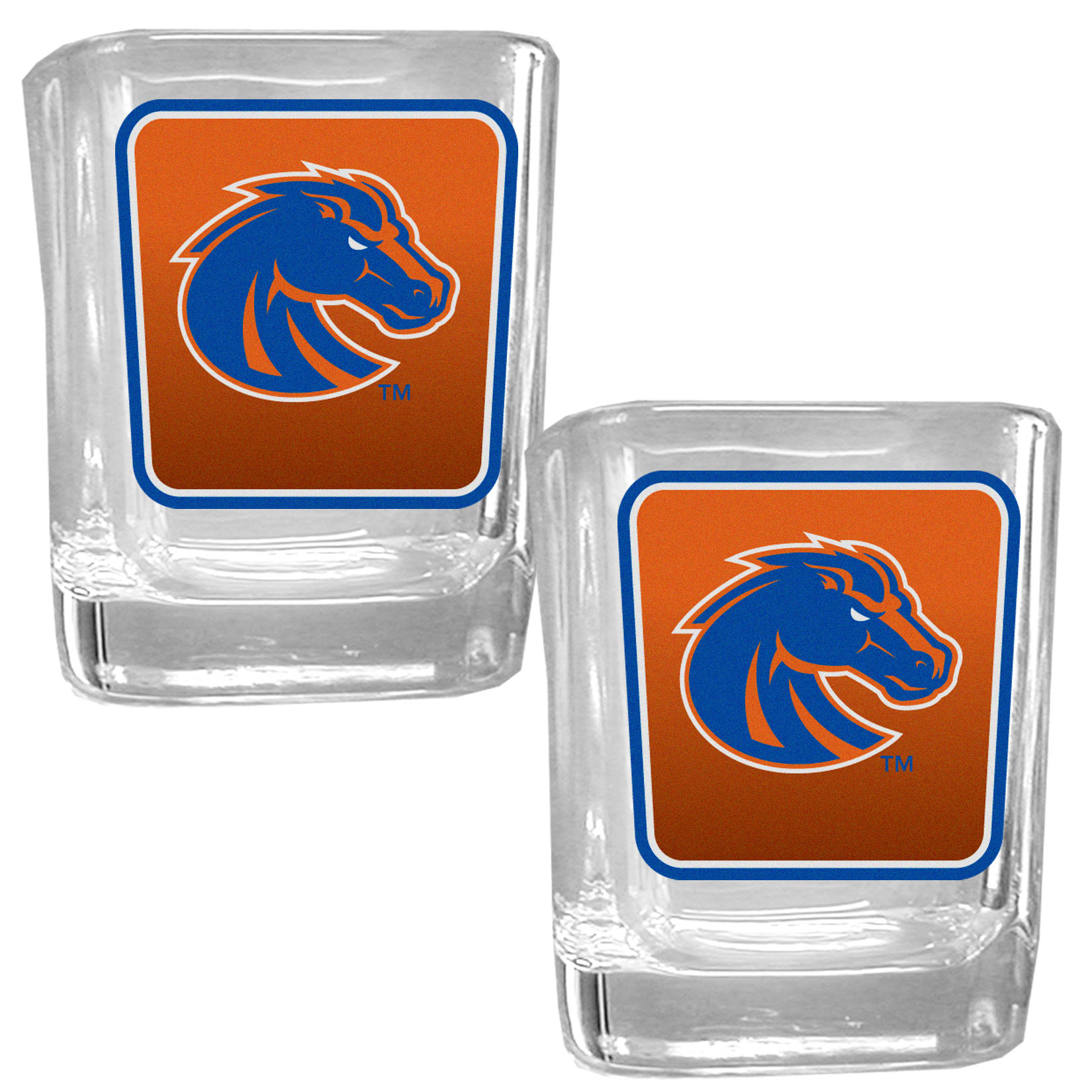 Boise St. Broncos Square Glass Shot Glass Set - Our glass shot glasses are perfect for collectors or any game day event. The 2 ounce glasses feature bright, vidid digital Boise St. Broncos graphics. Comes in a set of 2.