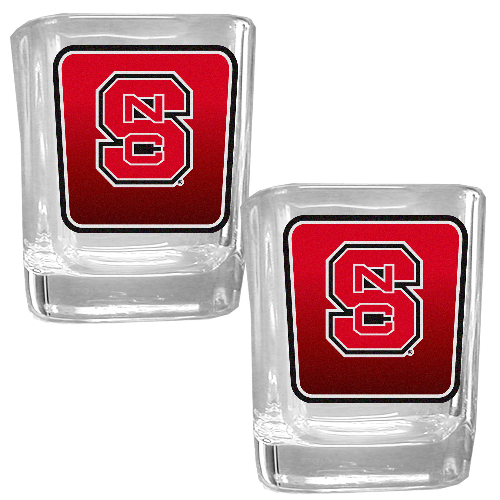 N. Carolina St. Wolfpack Square Glass Shot Glass Set - Our glass shot glasses are perfect for collectors or any game day event. The 2 ounce glasses feature bright, vidid digital N. Carolina St. Wolfpack graphics. Comes in a set of 2.