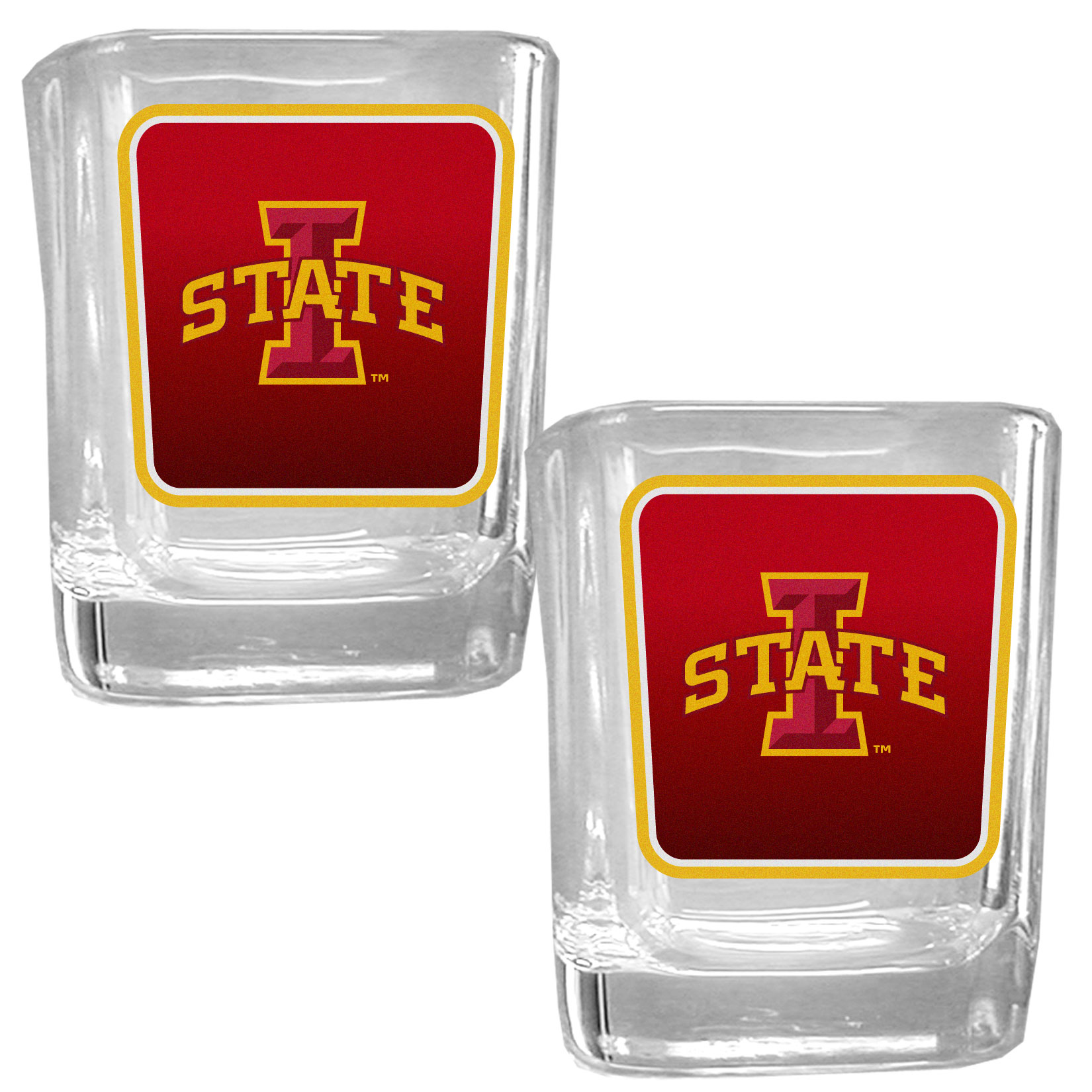 Iowa St. Cyclones Square Glass Shot Glass Set - Our glass shot glasses are perfect for collectors or any game day event. The 2 ounce glasses feature bright, vidid digital Iowa St. Cyclones graphics. Comes in a set of 2.
