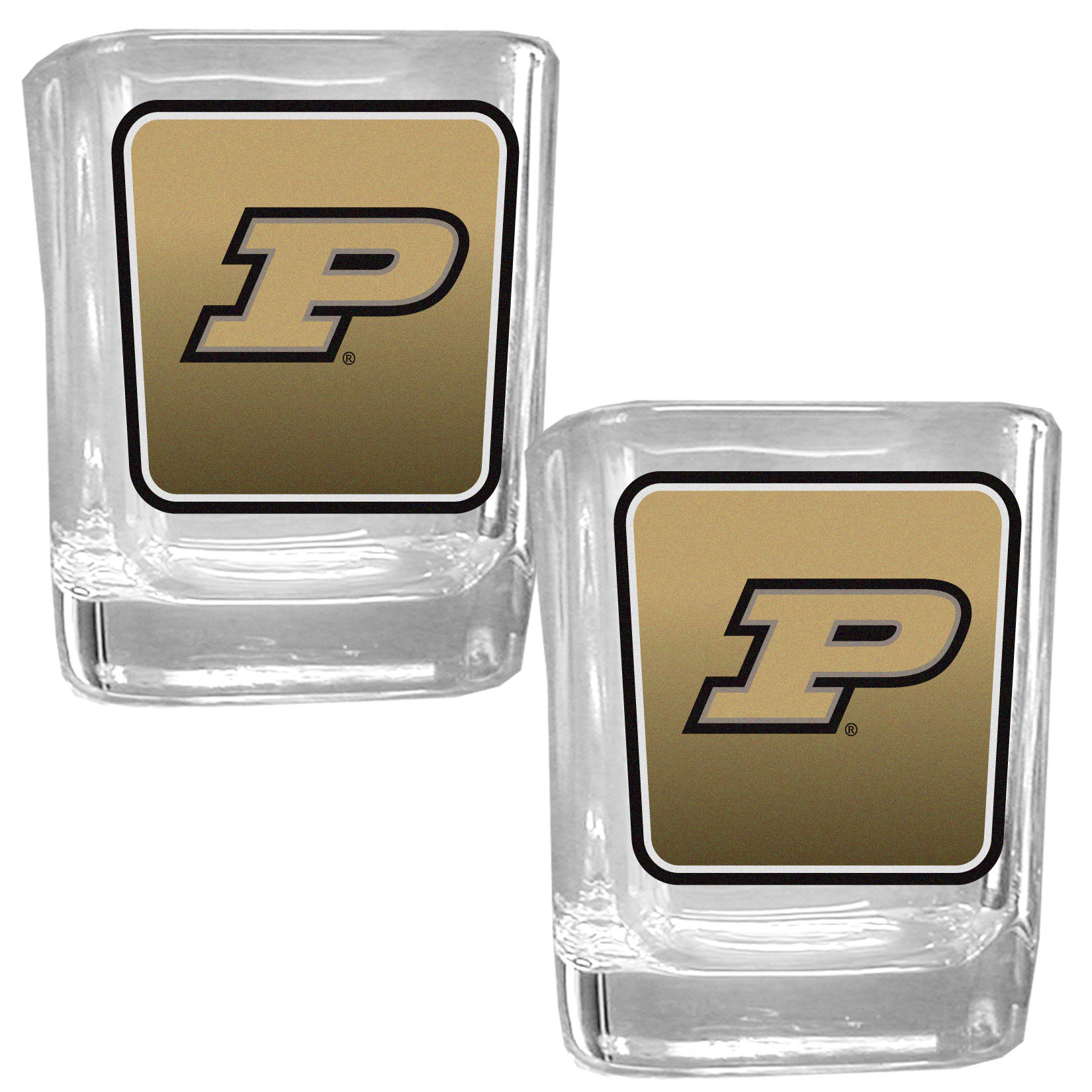 Purdue Boilermakers Square Glass Shot Glass Set - Our glass shot glasses are perfect for collectors or any game day event. The 2 ounce glasses feature bright, vidid digital Purdue Boilermakers graphics. Comes in a set of 2.