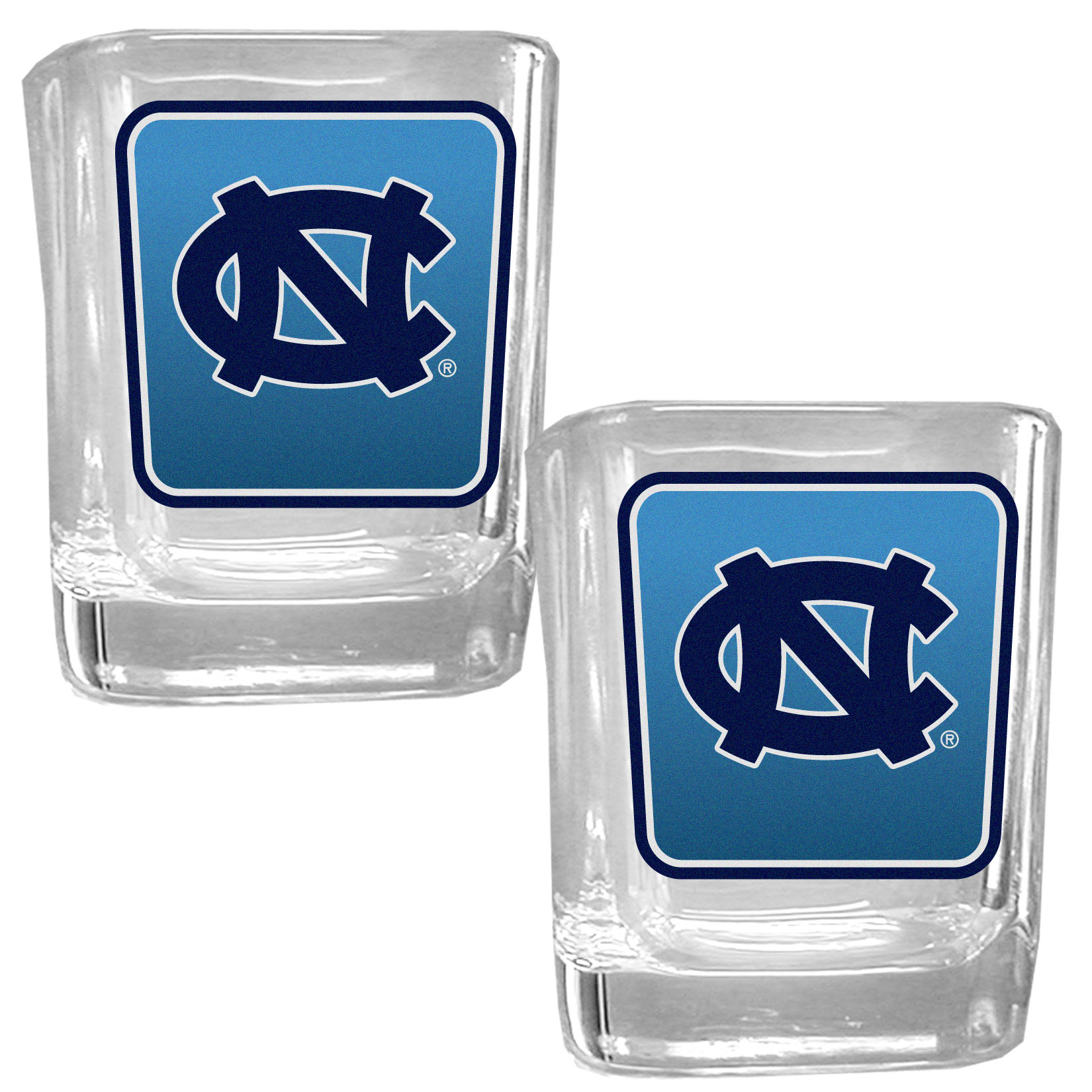 N. Carolina Tar Heels Square Glass Shot Glass Set - Our glass shot glasses are perfect for collectors or any game day event. The 2 ounce glasses feature bright, vidid digital N. Carolina Tar Heels graphics. Comes in a set of 2.