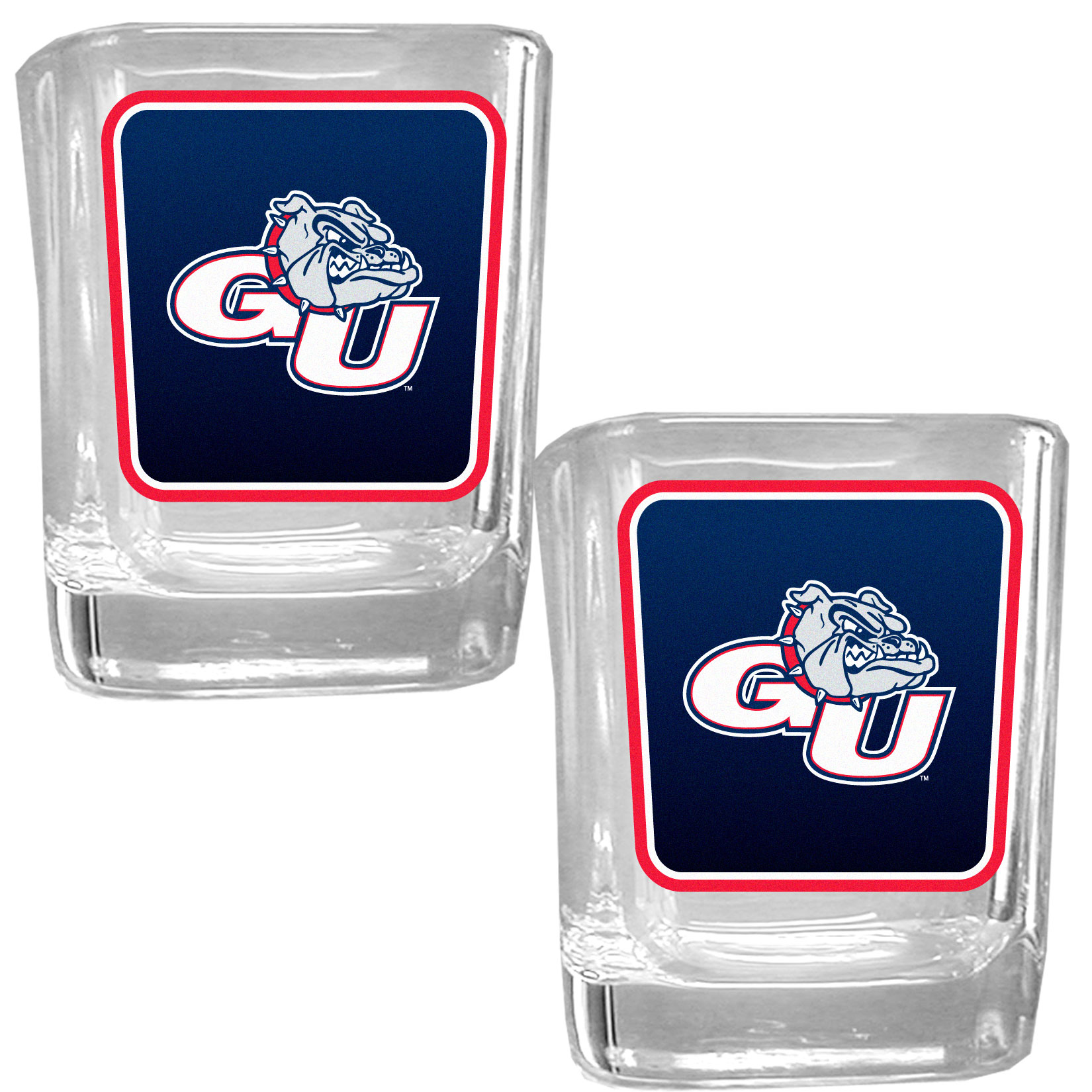 Gonzaga Bulldogs Square Glass Shot Glass Set - Our glass shot glasses are perfect for collectors or any game day event. The 2 ounce glasses feature bright, vidid digital Gonzaga Bulldogs graphics. Comes in a set of 2.