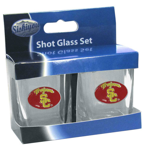 USC Trojans Shot Glass Set - This is the perfect gift for any devoted USC Trojans fan! Set of 2 glasses, 2oz capacity, with school logos on each glass. Perfect for tailgating or game day gatherings